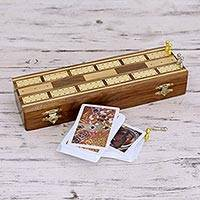 Wood and brass cribbage set,