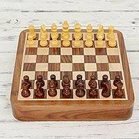 Wood chess set, 'Mindful Challenge' - Artisan Crafted Magnetized Wood Travel Chess Set