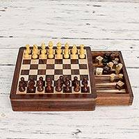 Wood chess and backgammon set, 'Path of Challenge'
