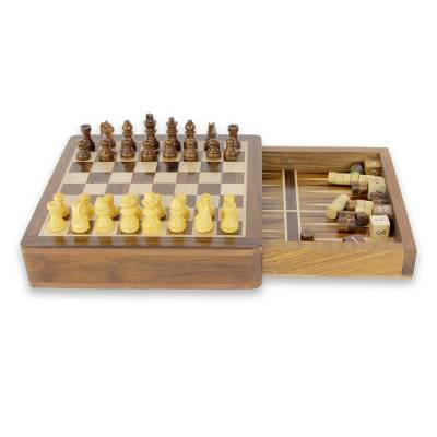 Wood chess and backgammon set, 'Path of Challenge' - 2-in-1 Wood Chess and Backgammon Travel Size Set