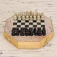 Soapstone chess set, 'Brilliancy' (small) - Artisan Crafted Natural Soapstone 8-in Chess Set from India