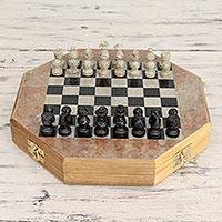Soapstone chess set, 'Brilliancy' (medium) - Soapstone 10-in Chess Set and Storage Drawer Crafted by Hand