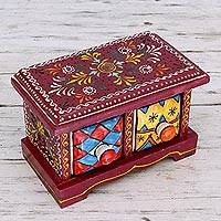 Wood and ceramic box, 'Jaipuri Burgundy' - Handmade Indian Burgundy Wood Box with Ceramic Drawers