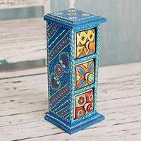 Wood and ceramic box, 'Rajasthan Sky' - India Artisan Crafted Blue Wood Box with Ceramic Drawers