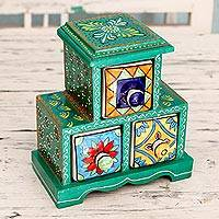 Wood and ceramic box, 'Hyderabad Green' - Green Wood Box with 3 Ceramic Drawers Painted by Hand