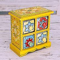 Wood and ceramic box, 'Indian Sun' - Four Hand Painted Ceramic Drawers in Yellow Mango Wood Box