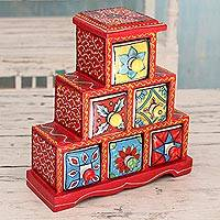 Wood and ceramic box, 'Crimson Holi' - Red Wood Box with Six Hand Painted Ceramic Drawers