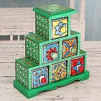 Wood and ceramic box, 'Verdant Holi' - Green Mango Wood Box with 6 Ceramic Hand Painted Drawers