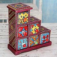 Wood and ceramic box, 'Burgundy Gujurat' - Burgundy Mango Wood Box with 5 Ceramic Hand Painted Drawers