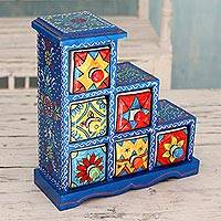 Wood and ceramic box, 'Azure Gujurat' - Six Hand Painted Ceramic Drawers in Blue Mango Wood Box
