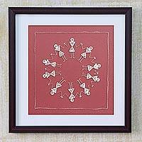 Quilling art, 'Celebration' - Framed Warli Art Theme Paper Filigree Art from India
