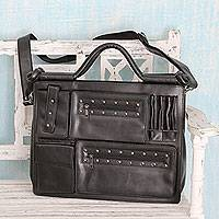 Laptop bag, 'Style Statement in Black' - Black Case with Adjustable Shoulder Strap for 13-Inch Laptop