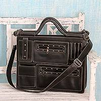 Laptop bag, 'Statement in Weathered Black' - Faded Black Case with Multiple Pockets for 13-Inch Laptop