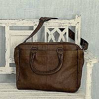Leather shoulder bag, 'Chocolate Fantasy' - Indian Hand Crafted Large Brown Leather Shoulder Bag