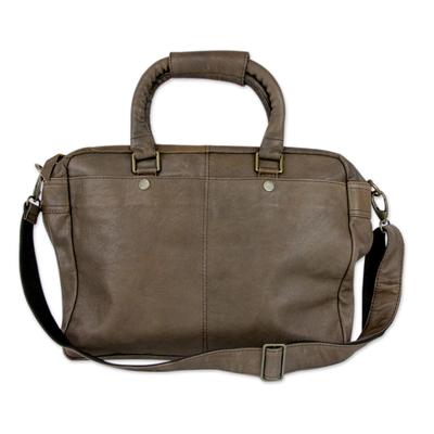Leather shoulder bag, 'Chocolate Fantasy' - Indian Hand Crafted Large Brown Leather Shoulder Bag
