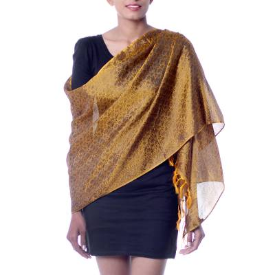 Varanasi silk shawl, 'Golden Dreams' - Hand Woven Varanasi Style Silk Shawl in Gold and Black
