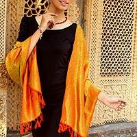 Varanasi silk shawl, 'Electric Varanasi' - Colorful 100% Silk Brocade Shawl Hand Loomed in India