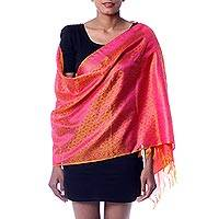 Varanasi silk shawl, 'Pink Glory' - Artisan Crafted Pink and Orange Varanasi Style Silk Shawl