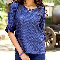 Cotton ikat tunic, 'Indigo Raindrop' - Hand Crafted All Cotton Indigo Blue Ikat Tunic for Women