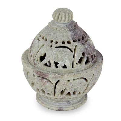 Indian Elephant Theme Hand Carved Soapstone Decorative Jar