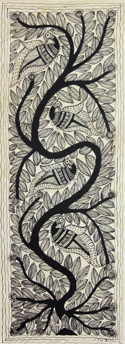 Madhubani painting, 'Singing Birds' - Small Black and White Madhubani Style Painting of Birds