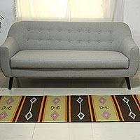 Wool runner, 'Winter Warmth' (2.5x8) - Traditional Hand Loomed Dhurrie Style Runner Rug (2.5x8)