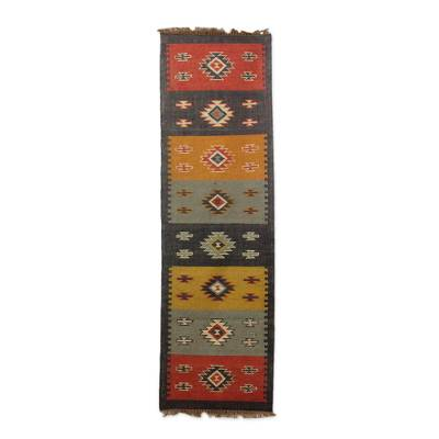 Jute runner, 'Vibrant Earth' (2.5x8) - Hand Loomed Multicolor Jute Dhurrie Runner Rug (2.5x8)