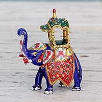 Meenakari figurine, 'Royal Elephant Ride' - Handcrafted Meenakari Elephant Statuette from India