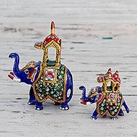 Meenakari figurines, 'Royal Elephant Procession' (pair) - Fair Trade Meenakari Elephant Statuettes from India (Pair)