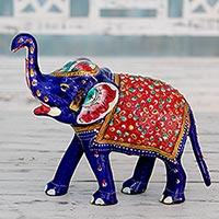 Meenakari figurine, 'Proud Blue Elephant'