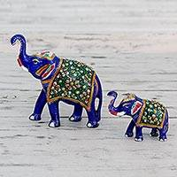 Meenakari figurines, 'Royal Elephant Family' (pair) - Handcrafted Blue Meenakari Elephant Figurines (Pair)
