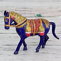 Meenakari figurine, 'Royal Horse of Jaipur' - Indian Traditional Meenakari Enamel on Metal Horse Figurine