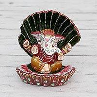 Meenakari figurine, 'Ganesha at Rest' - Enameled Meenakari Ganesha Hand Crafted Hindu Sculpture