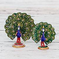 Meenakari figurines, 'Dancing Peacocks' (pair) - Two Artisan Crafted Enameled Meenakari Peacock Statuettes