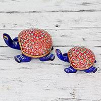 Meenakari figurines, 'Floral Turtles' (pair) - Hand Enameled Indian Meenakari Turtle Statuettes (Pair)