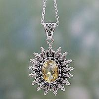 Citrine pendant necklace, 'Eternal Radiance' - 3.5 Carat Citrine and Silver Artisan Crafted Necklace