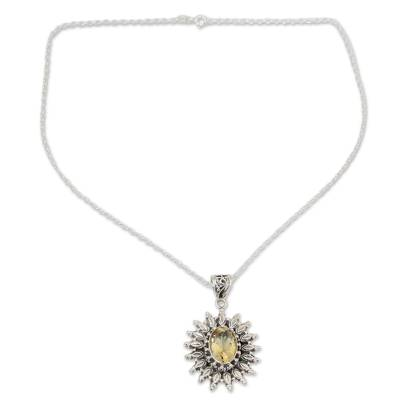3.5 Carat Citrine and Silver Artisan Crafted Necklace