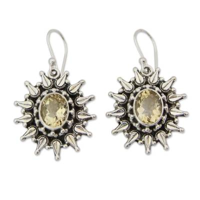 Artisan Crafted 6 Carat Citrine and Silver Earrings