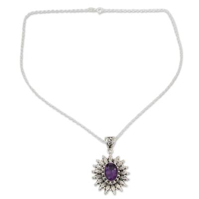3.5 Carat Amethyst and Silver Artisan Crafted Necklace