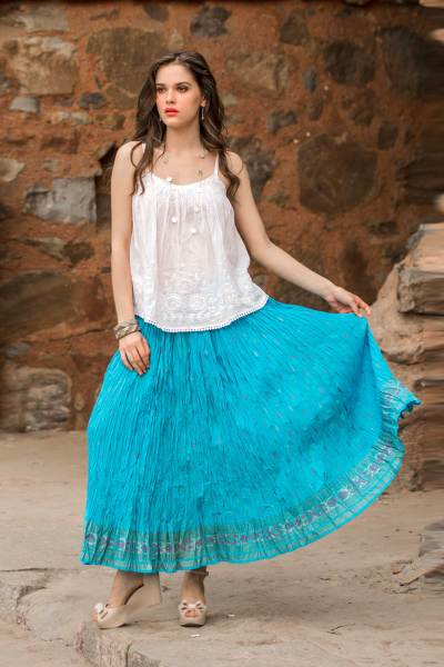 Cotton skirt, 'Royal Turquoise Jaipur' - Crinkled 100% Cotton Skirt with Block Printed Border