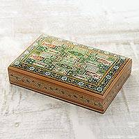 Wood jewelry box, 'Persian Emerald' - Emerald Green Traditional Motif Hand Painted Indian Wood Box