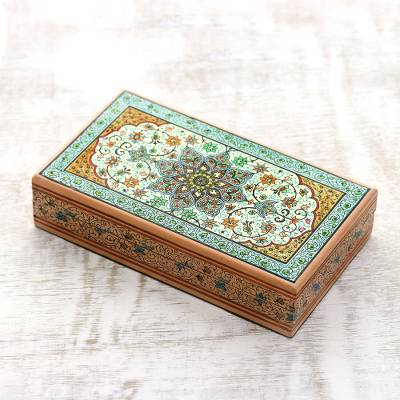 Wood jewelry box, 'Mughal Palace' - Colorful Persia Inspired Hand Painted Indian Wood Box