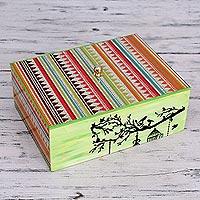 Decoupage box, 'Birdsong' - Bird Theme colourful Handmade Decoupage Box from India