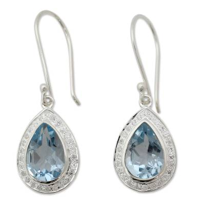 Sterling Silver and 3 ct Blue Topaz Dangle Earrings