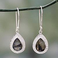 Labradorite dangle earrings, 'Mystic Dewdrop' - Modern Sterling Silver Earrings with Labradorite Gemstones