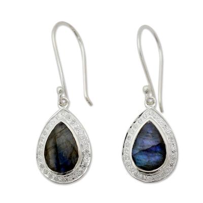 Modern Sterling Silver Earrings with Labradorite Gemstones
