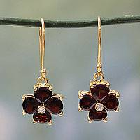 Gold plated garnet flower earrings, 'Scarlet Love' - Garnet Flower in 18k Gold Plated Hook Earrings from India