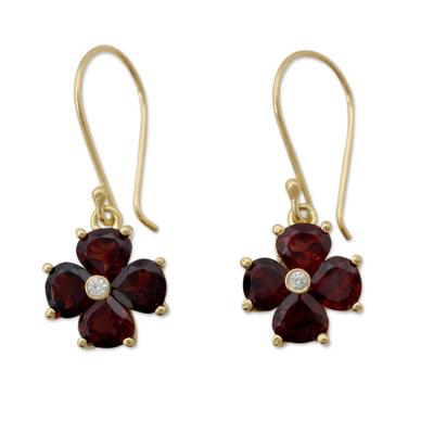Garnet Flower in 18k Gold Plated Hook Earrings from India