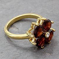 Gold plated garnet flower ring, 'Scarlet Love' - Garnet Flower in 18k Gold Plated Cocktail Ring