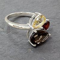 Multi-stone cocktail ring, 'Triple Allure' - Artisan Crafted Three-Gem Silver Cocktail Ring